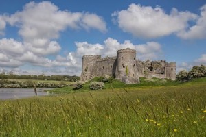 Carew Castle, said to be haunted by a Barbary Ape